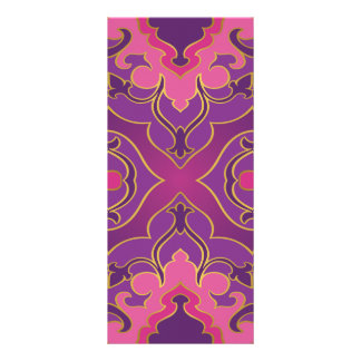 Panfleto Rosa retro, roxo, quente, ouro, floral, vintage,