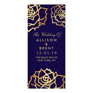 Panfleto Rosas dourados que Wedding o programa - azul