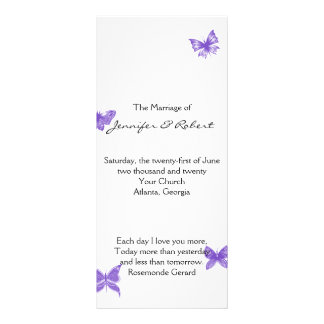 Panfleto Sonhos da borboleta: Programa violeta do casamento