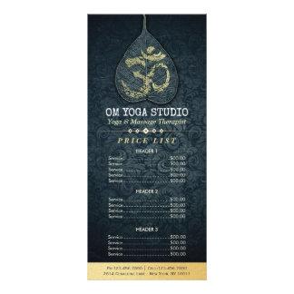 Panfleto Tabela de preços preta da IOGA do símbolo de OM da