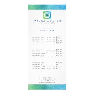 Panfleto Verde floral/azul do logotipo do bem-estar da