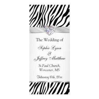 Panfleto Zebra branca preta, fita, programa do casamento da