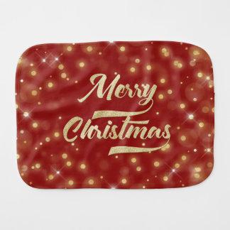 Paninho De Boca Vermelho do ouro de Bokeh do brilho do Feliz Natal