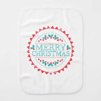 Paninho Para Bebês Aqua do Feliz Natal & tipografia vermelha do selo
