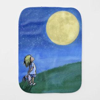 Paninho Para Bebês Burp o pano com uma menina que olha a lua