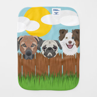 Paninho Para Bebês Cães afortunados da ilustração em uma cerca de