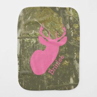 Paninho Para Bebês Camo + Pano cor-de-rosa do Burp dos cervos