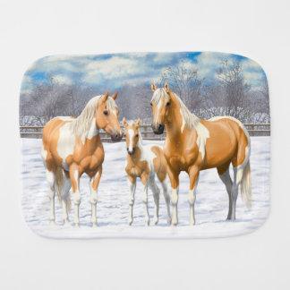 Paninho Para Bebês Cavalos da pintura do Palomino na neve