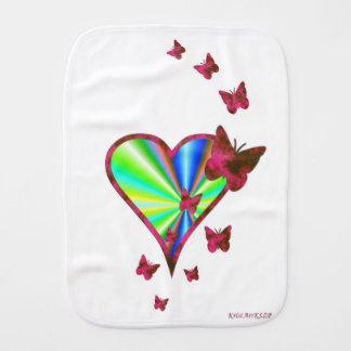 Paninho Para Bebês Coração e borboleta do arco-íris