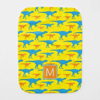 Paninho Para Bebês Dinossauros azuis do amarelo alaranjado do