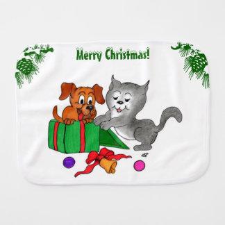 Paninho Para Bebês Feliz Natal com gato e cão