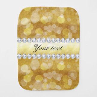 Paninho Para Bebês Folha e diamantes bonitos de Bokeh do ouro