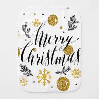 Paninho Para Bebês Mão dourada bonito escrita brilhos do Feliz Natal