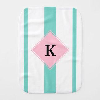 Paninho Para Bebês Monograma cor-de-rosa das listras de turquesa