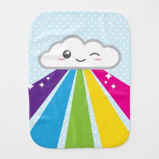 Paninho Para Bebês Pano do Burp do bebê da nuvem e do arco-íris de