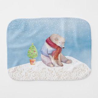Paninho Para Bebês Urso polar e árvore de Natal na neve
