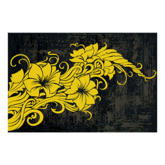 Panno floral amarelo moderno da decoração posteres