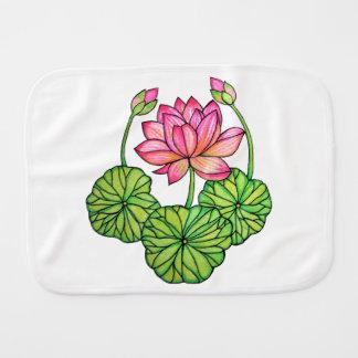 Pano De Boca Aguarela Lotus cor-de-rosa com botões & folhas