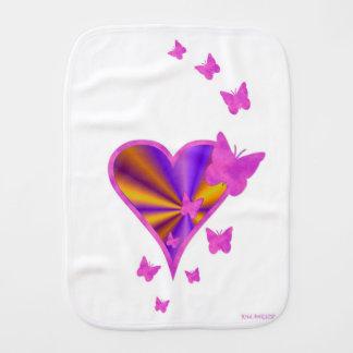 Pano De Boca Coração e borboleta do arco-íris