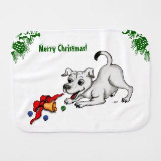 Pano De Boca Feliz Natal! Filhote de cachorro com Bell e bola