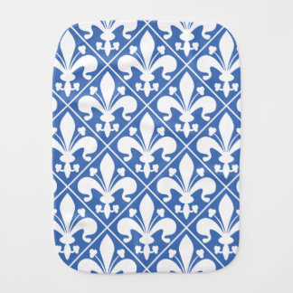 Pano De Boca Flor de lis francesa azul e branca bonito