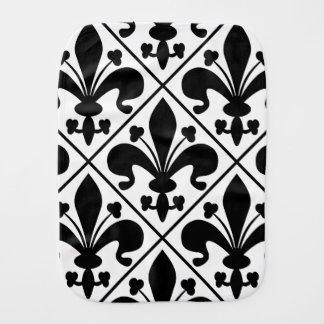 Pano De Boca Flor de lis preto e branco chique