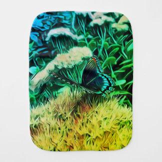 Pano De Boca Flores azuis do verde amarelo com borboleta de