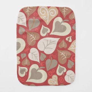 Pano De Boca folhas vermelhas bonitas dos corações do amor