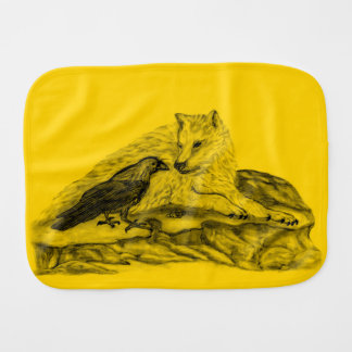 Pano De Boca Lobo e corvo - design do preto e do amarelo