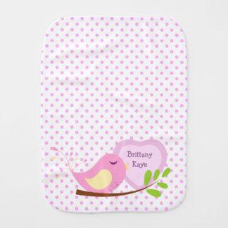 Pano De Boca Pássaro do rosa das bolinhas da lavanda