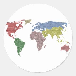 pano do mundo da terra adesivos redondos