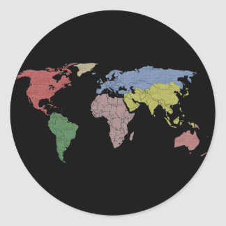 pano do mundo da terra adesivo em formato redondo