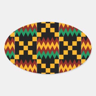 Pano preto, verde, vermelho, e amarelo de Kente Adesivos Em Formato Oval