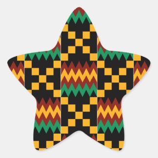 Pano preto, verde, vermelho, e amarelo de Kente Adesivo Em Forma De Estrela