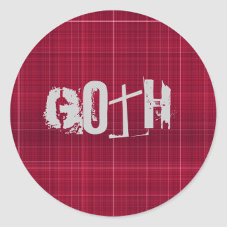 pano vermelho escuro do tartan gótico adesivos redondos