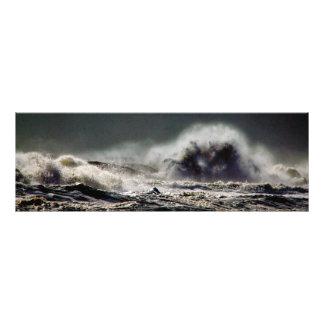 Panorama da cidade do oceano da onda do monstro impressão de foto