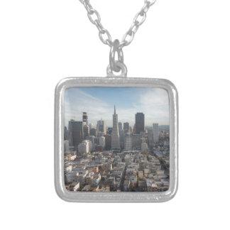 Panorama da skyline de San Francisco Colar Banhado A Prata