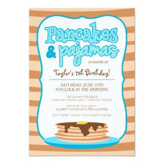 Panquecas e festa de aniversário azuis dos pijamas convite 12.7 x 17.78cm