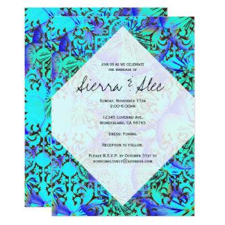Pansies abstratos de turquesa & de lavanda convite 12.7 x 17.78cm