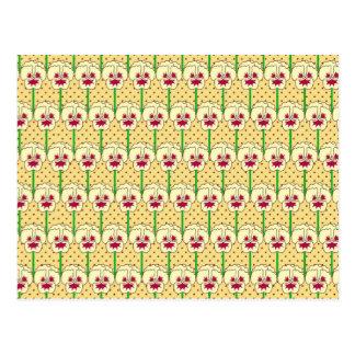 Pansies amarelos - teste padrão retro do papel de cartao postal