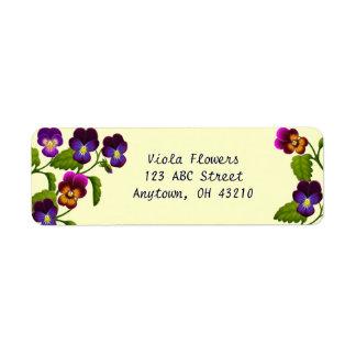 Pansies e etiquetas customizáveis das violas etiqueta endereço de retorno
