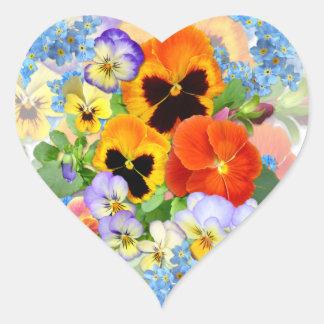 Pansies & miosótis adesivo coração