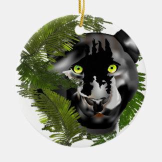 Pantera na folha ornamento de cerâmica redondo