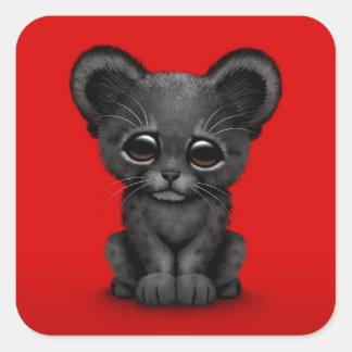Pantera preta Cub do bebê bonito no vermelho Adesivos Quadrados