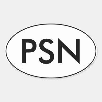 Pantsuit oval do PSN   da etiqueta   do carro de