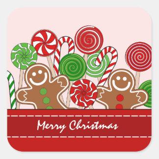 Pão-de-espécie vermelhos bonitos do Natal Adesivo Quadrado