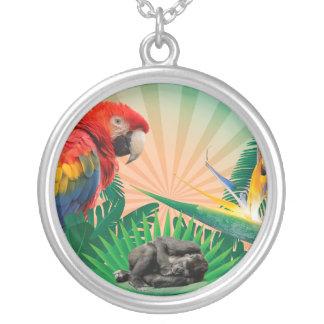 Papagaio da selva do gorila colar banhado a prata