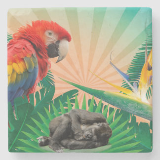 Papagaio da selva do gorila porta copos de pedras