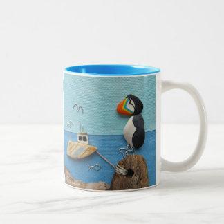 Papagaio-do-mar - caneca da colagem da arte da