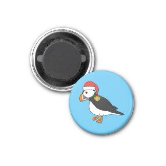 Papagaio-do-mar do Natal com Red Hat & ouro Jingle Ímã Redondo 2.54cm